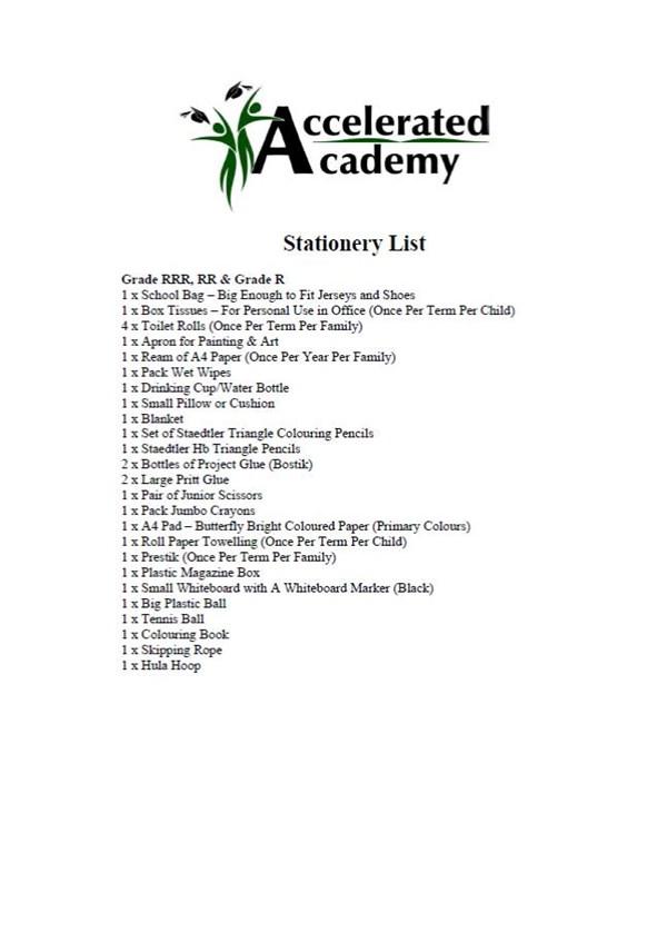 Stationery List 2020