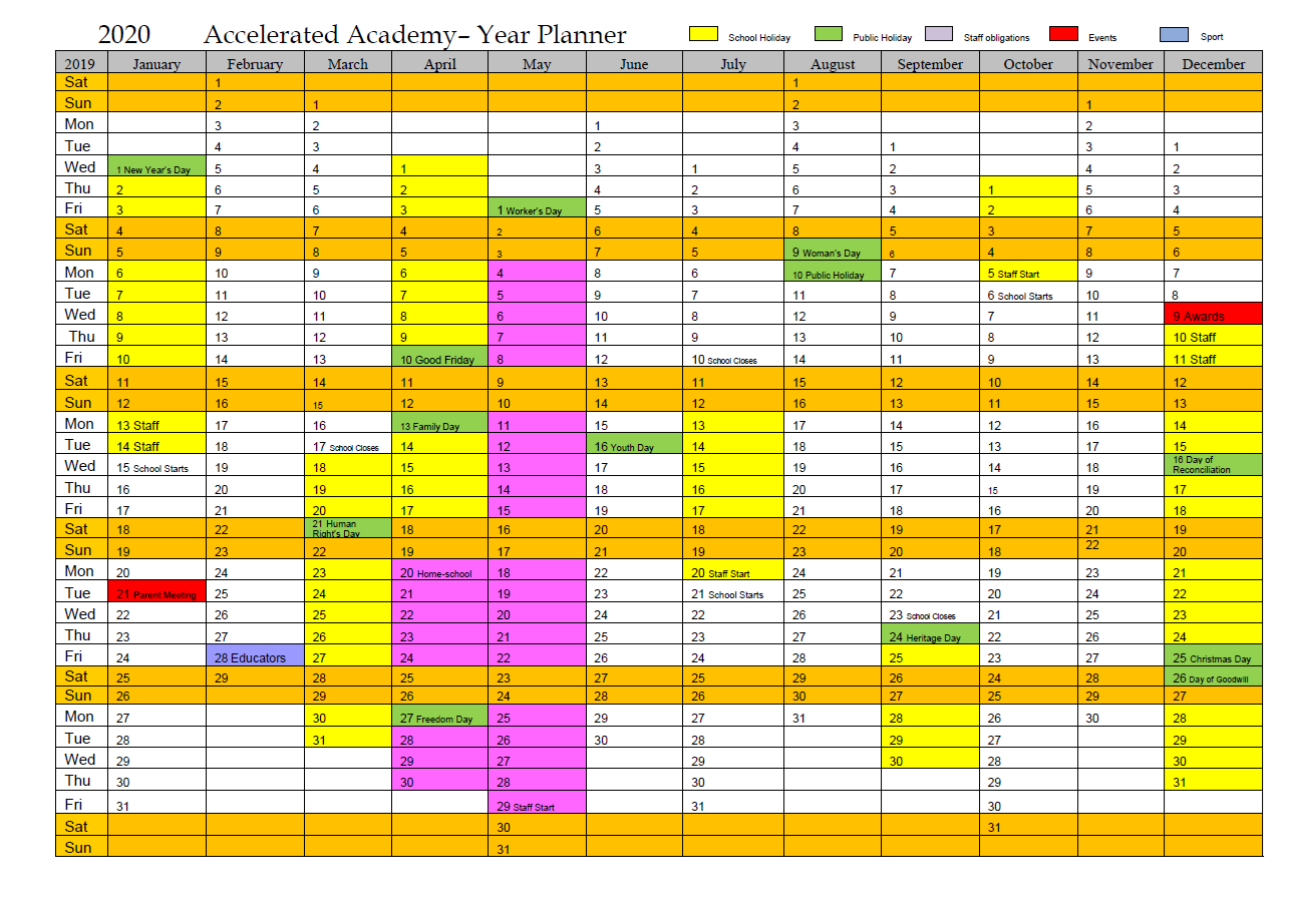 year planner 2020 for accelerated academy white river